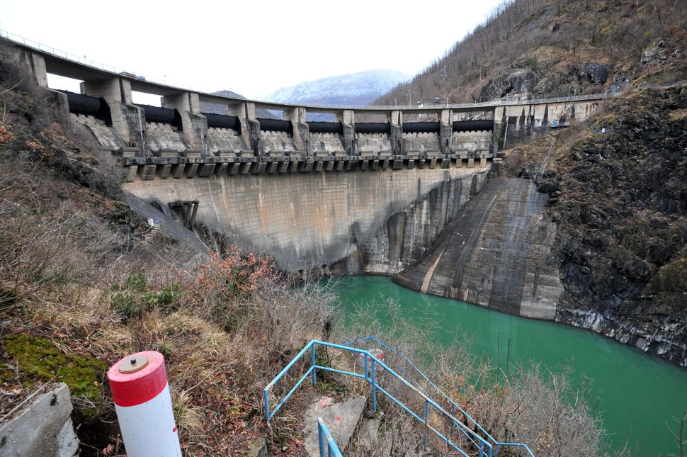A concrete dam at the foot of the artificially formed Jablanicko lake near the Bosnian town of Konjic.