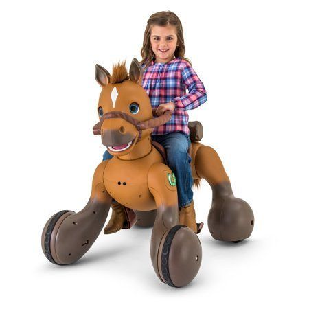 "Get it at <a href=""https://www.walmart.com/ip/12-Volt-Rideamals-Scout-Pony-Interactive-Ride-On-Toy-by-Kid-Trax/769580543"" tar"