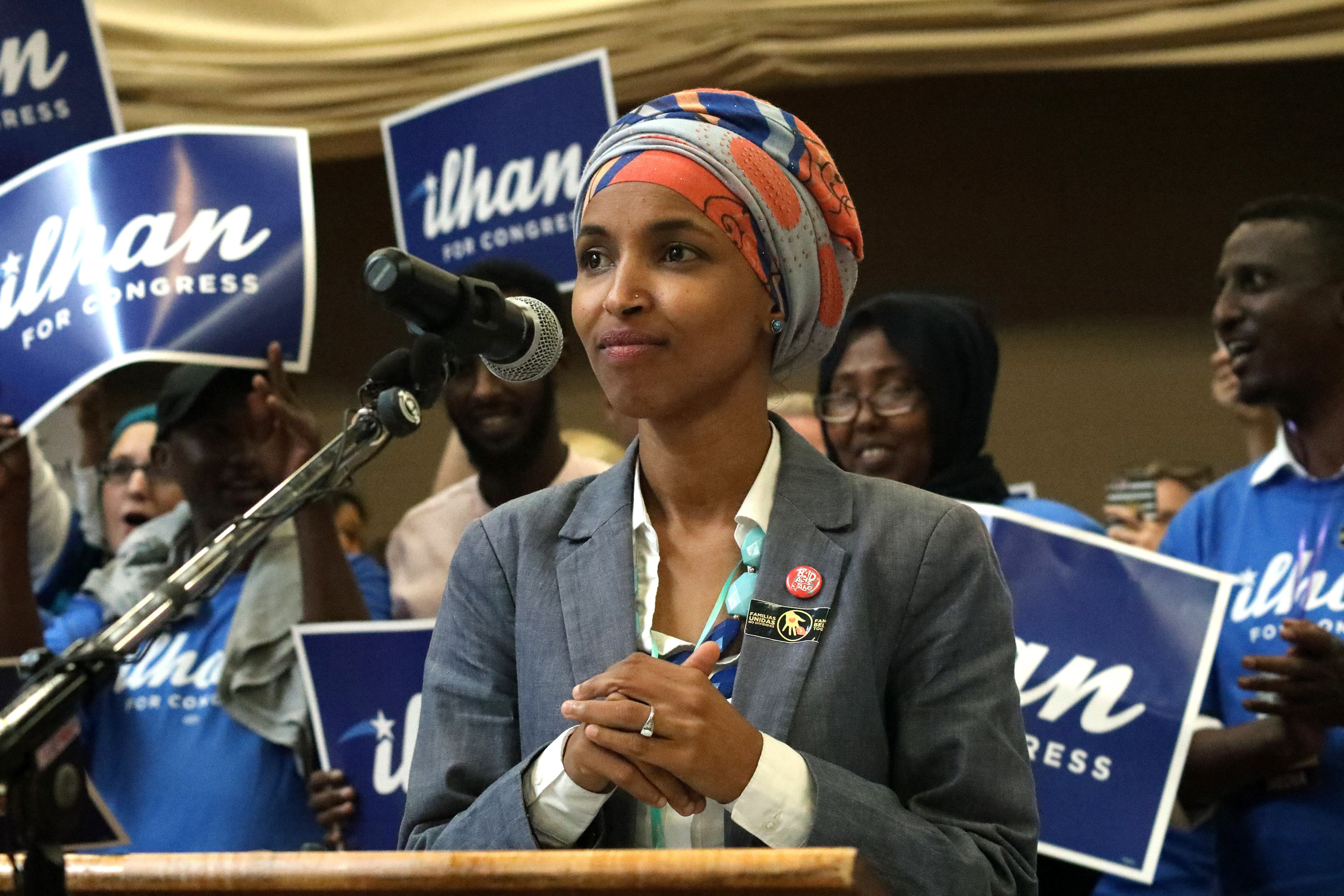Minnesota's Ilhan Omar, pictured, and Michigan's Rashida Tlaib are poised to become the first Muslim women in Congress.