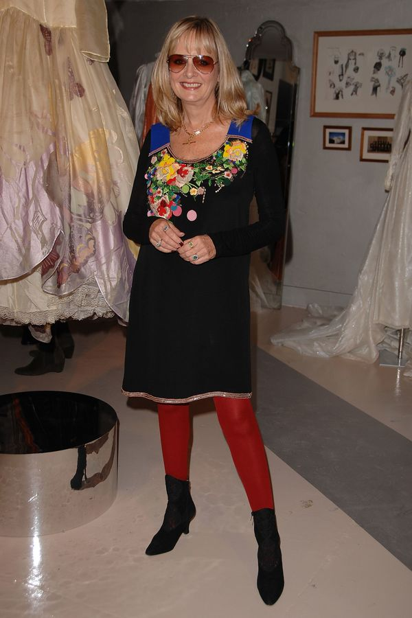 """The model attends the """"Bill Gibb: Fashion and Fantasy"""" book launch at the Fashion & Textile Museum in London."""