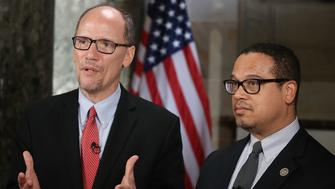 WASHINGTON, DC - FEBRUARY 28: New DNC Chair, Tom Perez (L) and Deputy Chair and Rep. Keith Ellison (D-MN) do a television interview in Statuary Hall at the U.S. Capitol before President Donald Trump delivers a speech to a joint session of Congress on February 28, 2017 in Washington, DC. Trump's first address to Congress is expected to focus on national security, tax and regulatory reform, the economy, and healthcare.  (Photo by Mark Wilson/Getty Images)