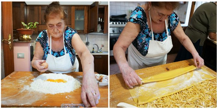 Graziella mixes up pasta dough and rolls it out before slicing it into tagliatelle.