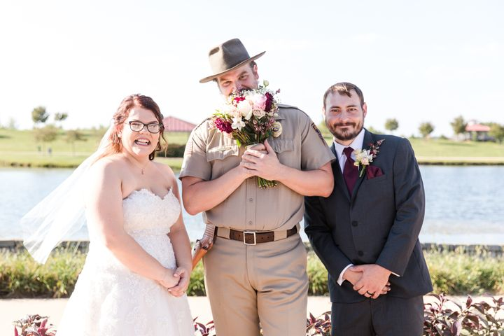 The bride, groom and a bashful Harbour.