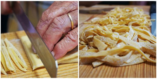 Elide slices the pasta sheets into beautiful strands of