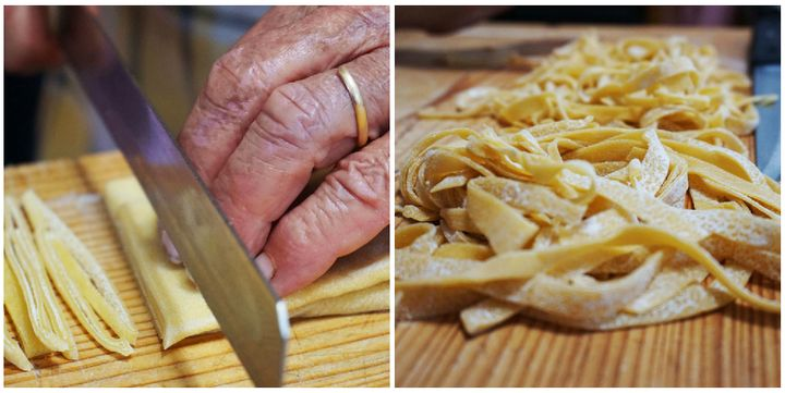 Elide slices the pasta sheets into beautiful strands of tagliatelle.