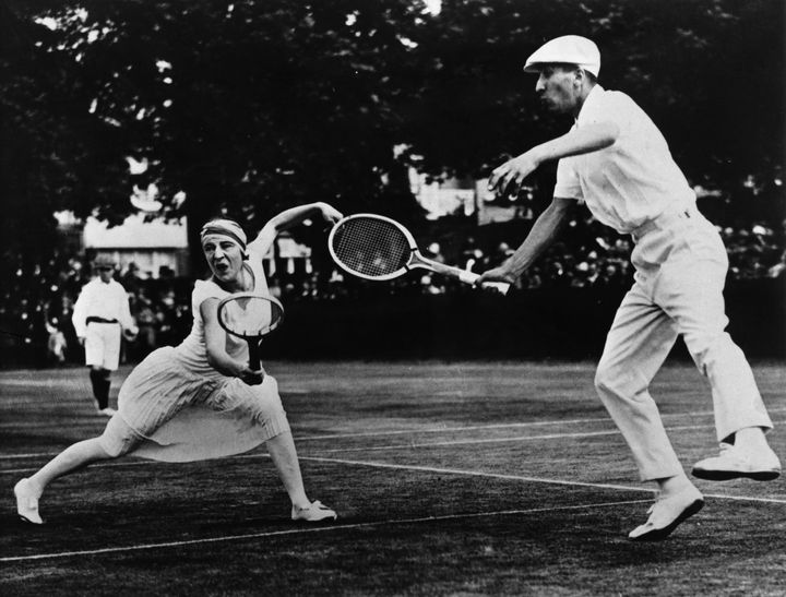 Suzanne Lenglen and René Lacoste play mixed doubles in the 1920s.