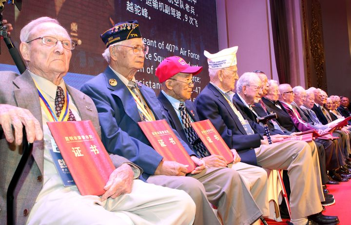 Flying Tiger veterans receive honorary citizenship from the city of Kunming, China, on Sept. 6, 2015.