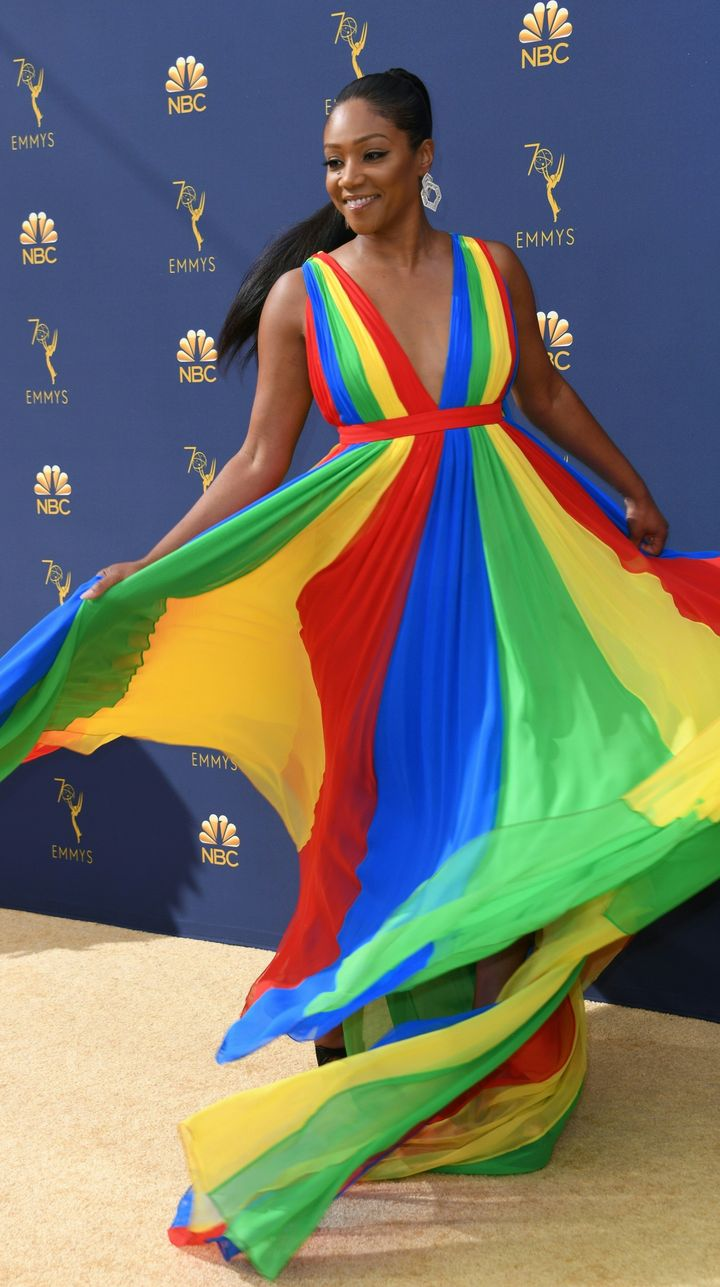 Haddish having a blast on the Emmy red carpet.