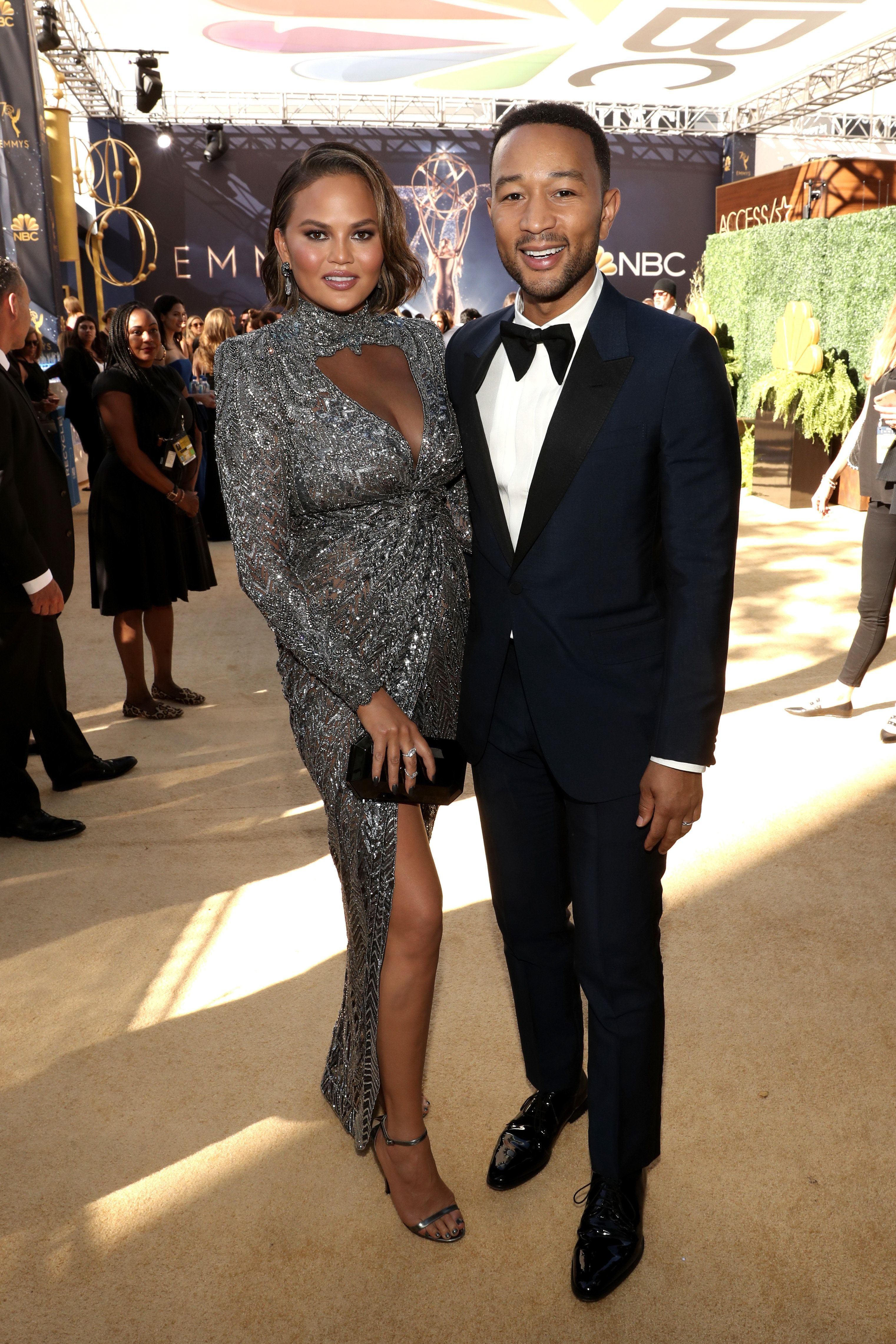 LOS ANGELES, CA - SEPTEMBER 17:  70th ANNUAL PRIMETIME EMMY AWARDS -- Pictured: (l-r) Model Chrissy Teigen and actor/singer John Legend arrive to the 70th Annual Primetime Emmy Awards held at the Microsoft Theater on September 17, 2018.  NUP_184218  (Photo by Todd Williamson/NBC/NBCU Photo Bank via Getty Images)