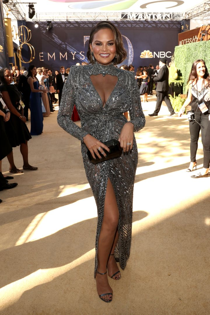 Chrissy Teigen arrives to the 70th Annual Primetime Emmy Awards.