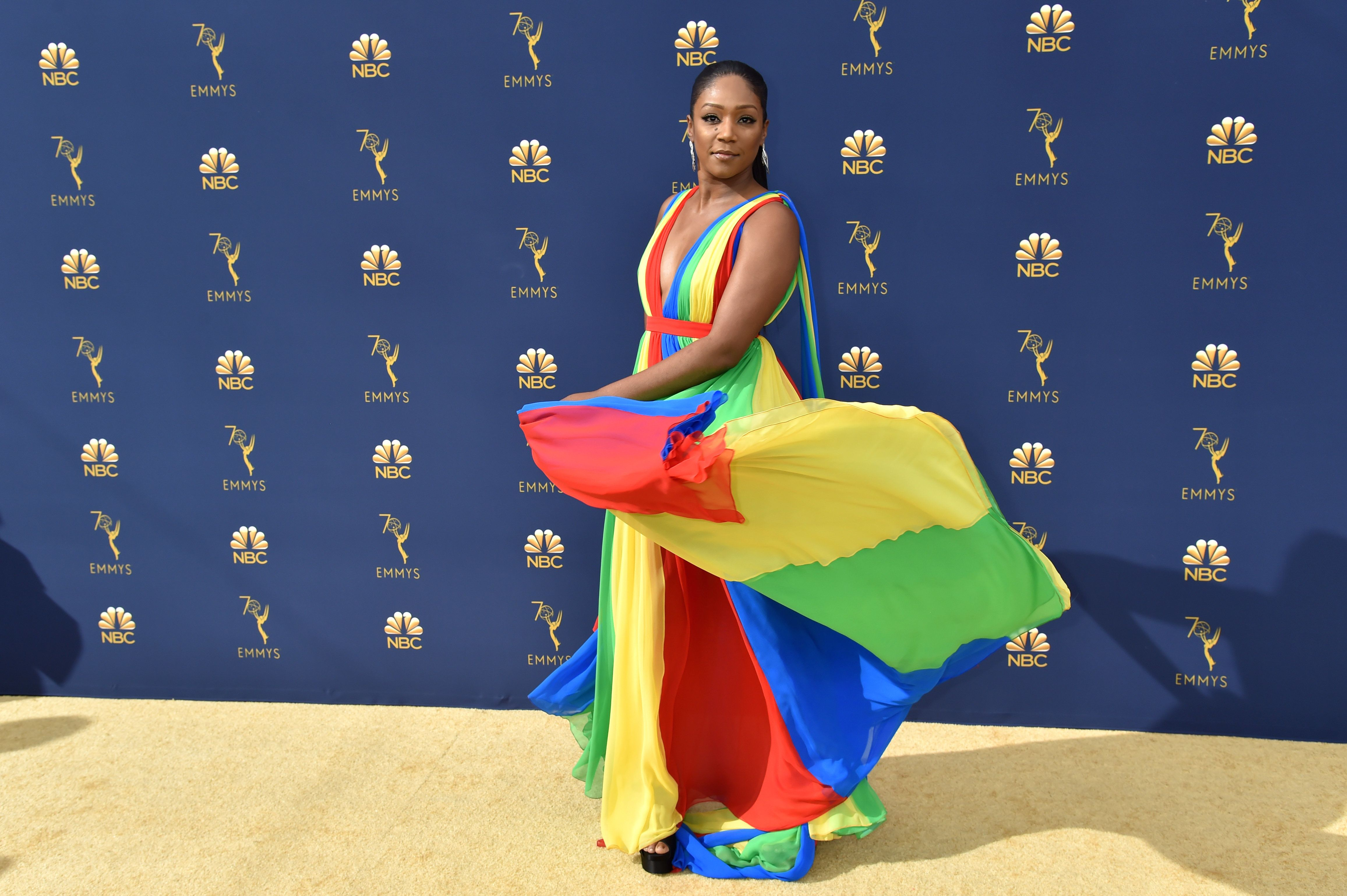 LOS ANGELES, CA - SEPTEMBER 17:  Tiffany Haddish  attends the 70th Emmy Awards at Microsoft Theater on September 17, 2018 in Los Angeles, California.  (Photo by Jeff Kravitz/FilmMagic)