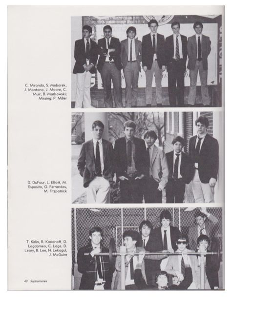 From the 1983/1984 Georgetown Prep yearbook, Brian Murkowski is in the top photo on the far right.