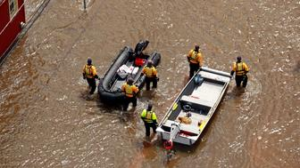 Rescuers patrol in floodwater caused by Hurricane Florence, in this aerial picture, in Lumberton, North Carolina, U.S. September 17, 2018. REUTERS/Jason Miczek