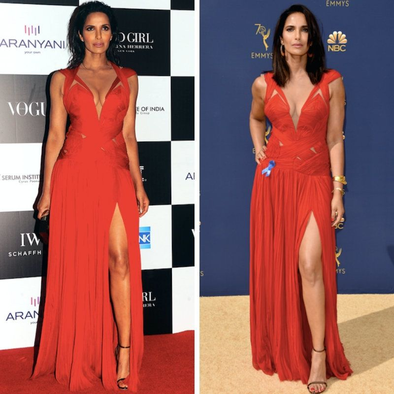 Padma Lakshmi in the J. Mendel gown she wore at the Vogue India Women of the Year Awards and again at the 2018 Emmy Awards.