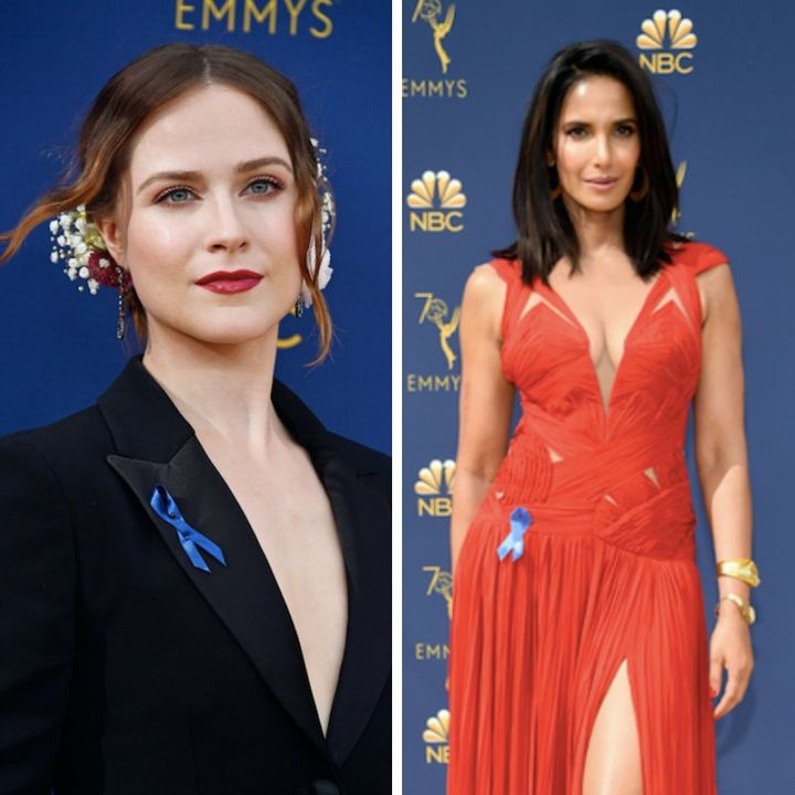 Evan Rachel Wood and Padma Lakshmi in ACLU blue ribbons.