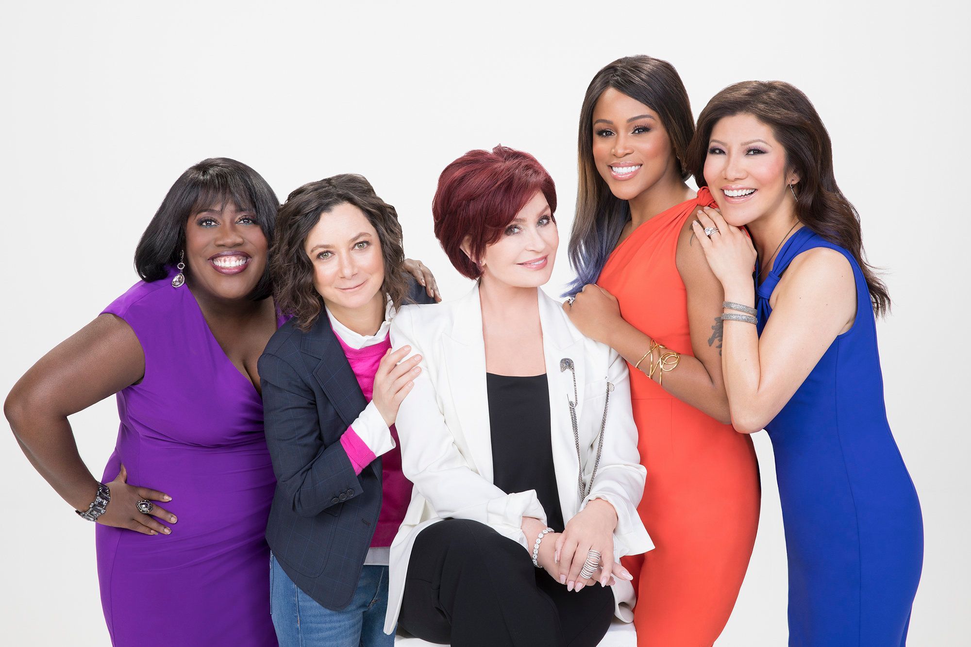 LOS ANGELES - NOVEMBER 15: The ladies of The Talk for the CBS Television Network. From left, Sheryl Underwood, Sara Gilbert, Sharon Osbourne, Eve and Julie Chen, shown. (Photo by Sonja Flemming/CBS via Getty Images)