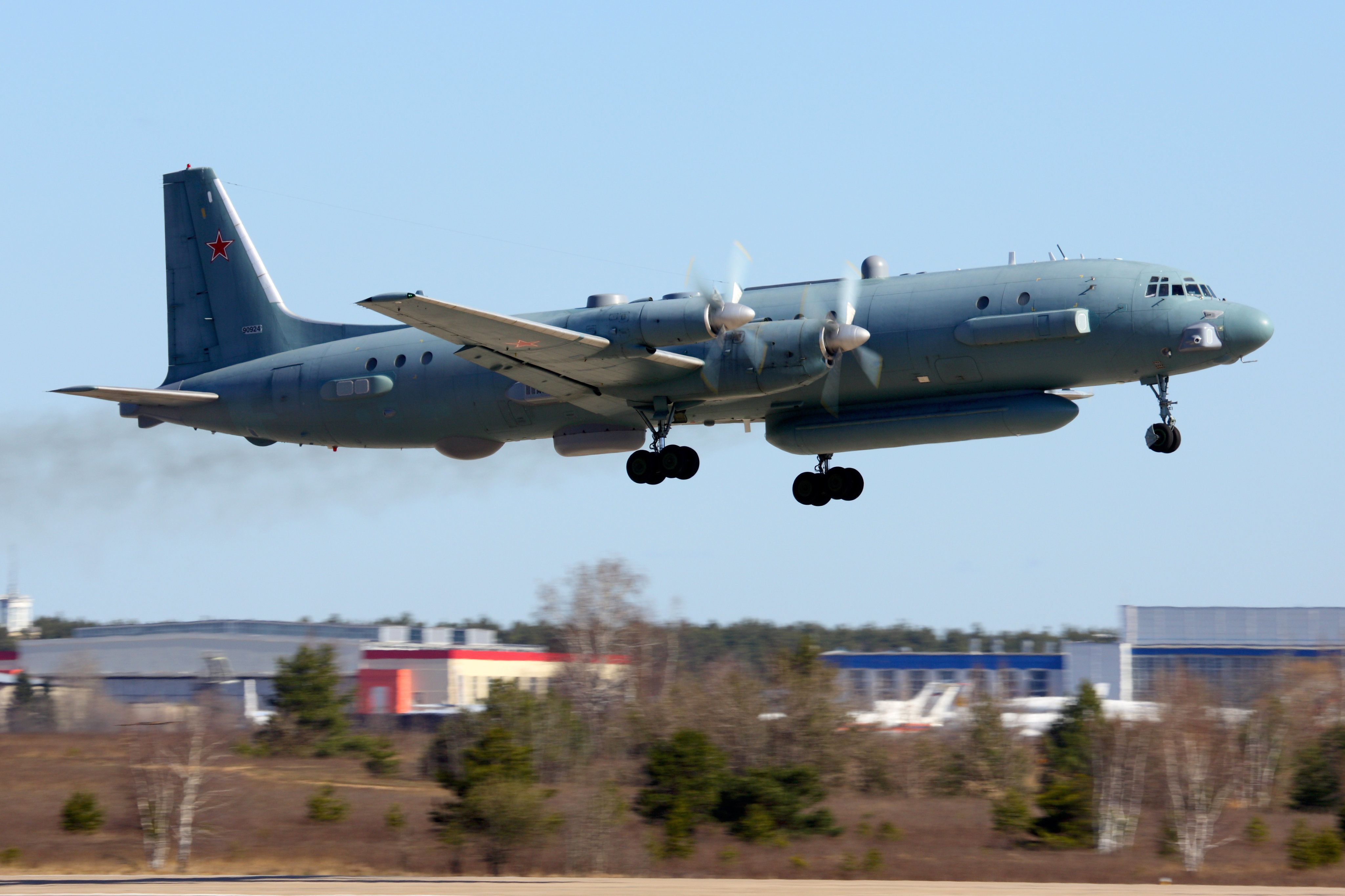 Zhukovsky, Moscow Region, Russia - February 13, 2014: Ilyushin Il-20M 90924 reconnaissance airplane takes off at Zhukovsky.