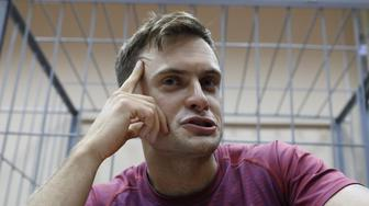 One of four intruders affiliated to anti-Kremlin punk band Pussy Riot, Pyotr Verzilov, who ran onto the pitch during the World Cup final between France and Croatia, attends a court hearing in Moscow, Russia July 16, 2018. REUTERS/Sergei Karpukhin