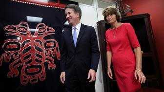 U.S. Supreme Court nominee Brett Kavanaugh meets with Senator Lisa Murkowski (R-AK) on Capitol Hill in Washington, U.S., August 23, 2018. REUTERS/Chris Wattie