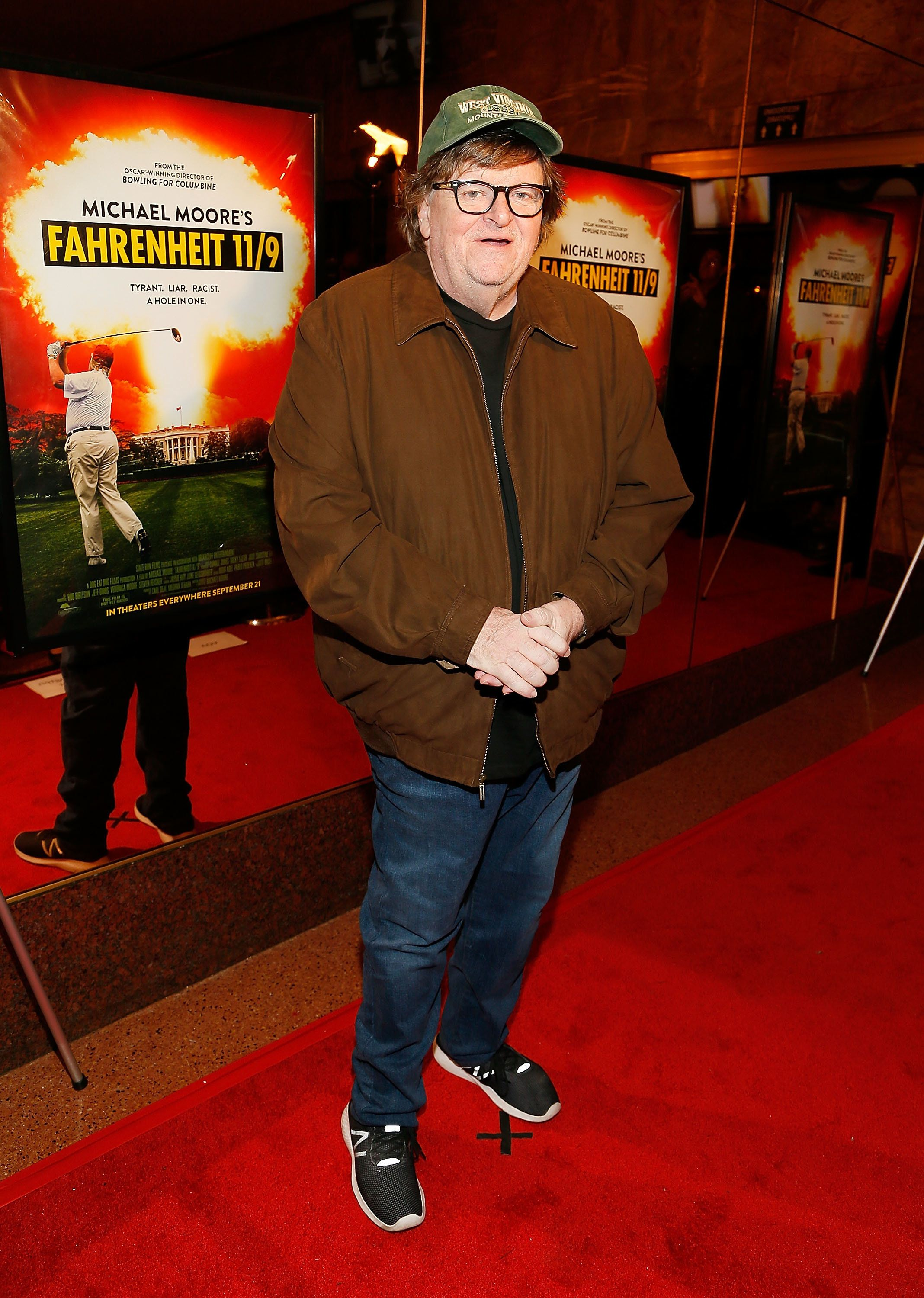 WASHINGTON, DC - SEPTEMBER 17:  Writer, producer, and director Michael Moore arrives at the 'Fahrenheit 11/9' premiere at AMC Uptown on September 17, 2018 in Washington, DC.  (Photo by Paul Morigi/Getty Images)