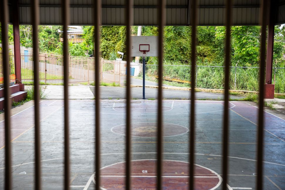 The basketball court at the now-shuttered Abelardo Díaz Alfaro elementary school.