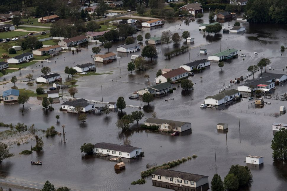 Flooding from Hurricane Florence is seen in Lumberton, North Carolina.