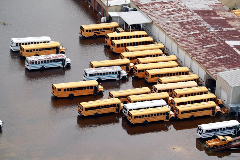 School buses sit in floodwater in Lumberton.