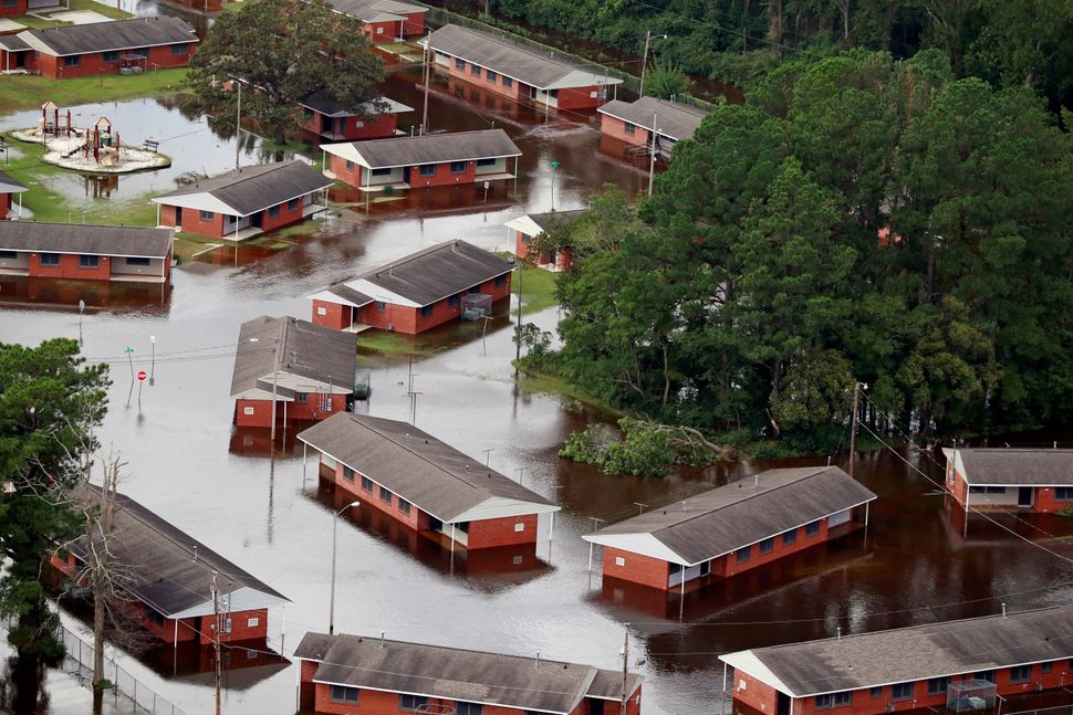 Houses sit in floodwater caused by Hurricane Florence in Lumberton, North Carolina.