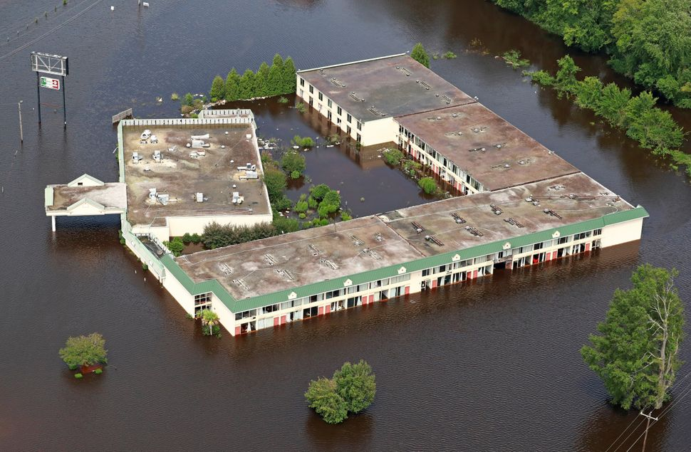 A building sits in floodwater in Lumberton.