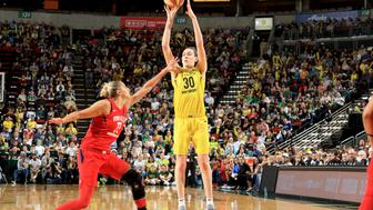 SEATTLE, WA - SEPTEMBER 7: Breanna Stewart #30 of the Seattle Storm shoots the ball against Elena Delle Donne #11 of the Washington Mystics during Game One of the 2018 WNBA Finals on September 07, 2018 at KeyArena in Seattle, WA. NOTE TO USER: User expressly acknowledges and agrees that, by downloading and or using this photograph, User is consenting to the terms and conditions of the Getty Images License Agreement. Mandatory Copyright Notice: Copyright 2018 NBAE (Photo by Joshua Huston/NBAE via Getty Images)