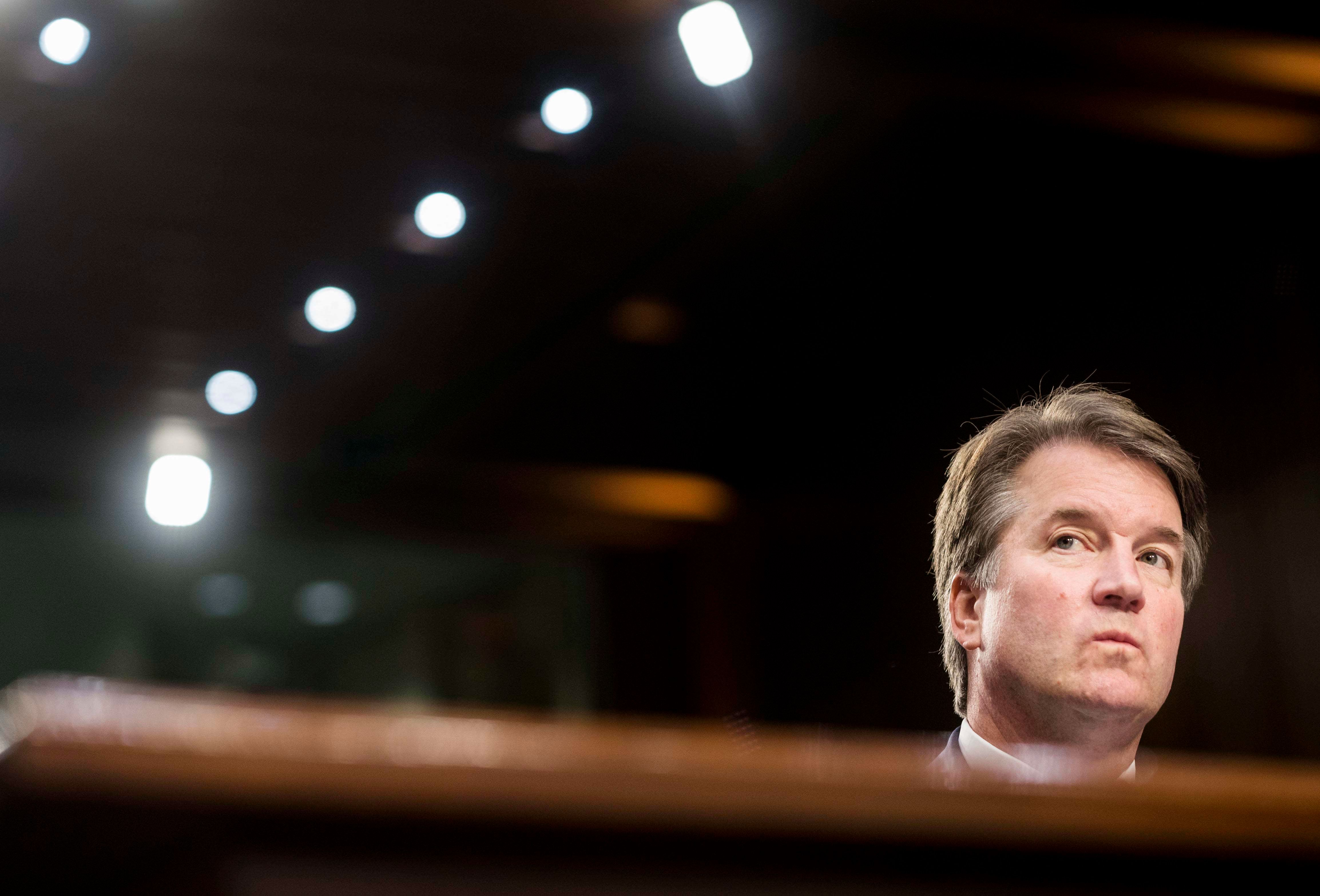 WASHINGTON, DC - Supreme Court nominee Brett Kavanaugh during his confirmation hearing in the Senate Judiciary Committee on Capitol Hill in Washington, DC on Wednesday September 5, 2018. (Photo by Melina Mara/The Washington Post via Getty Images)