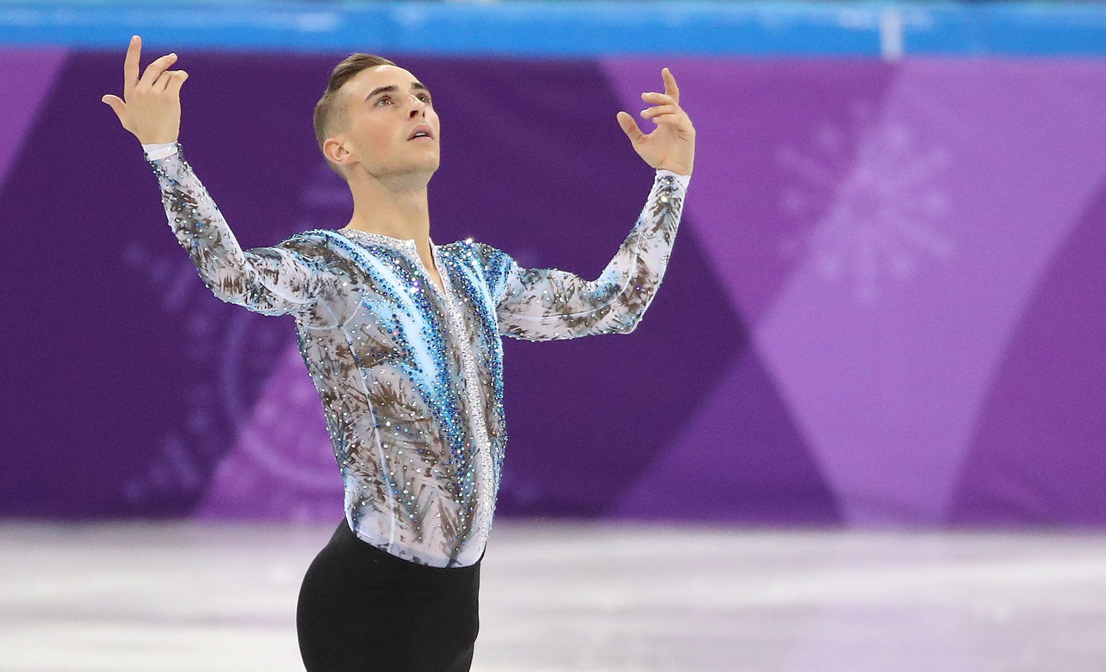 GANGNEUNG, Pyeongchang- FEBRUARY 11  - Adam Rippon of the United States in the team competition at the PyeongChang 2018 Winter Olympics Figure Skating competition  at the Gangneung Ice Arena  at the 2018 Pyeongchang Winter Olympics  in Gangneung in Pyeongchang in South Korea. February 11, 2018.        (Steve Russell/Toronto Star via Getty Images)