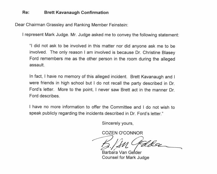 Judge's attorney sent his statement to Senate Judiciary Committee leaders on Tuesday.