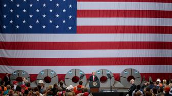 GRANITE CITY, IL - JULY 26: President Donald Trump speaks on July 26, 2018 at U.S. Steel's Granite City Works plant in Granite City, Illinois. (Photo by Whitney Curtis/Getty Images)