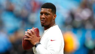 Dec 24, 2017; Charlotte, NC, USA; Tampa Bay Buccaneers quarterback Jameis Winston (3) warms up prior to the game against the Carolina Panthers at Bank of America Stadium. Mandatory Credit: Jeremy Brevard-USA TODAY Sports