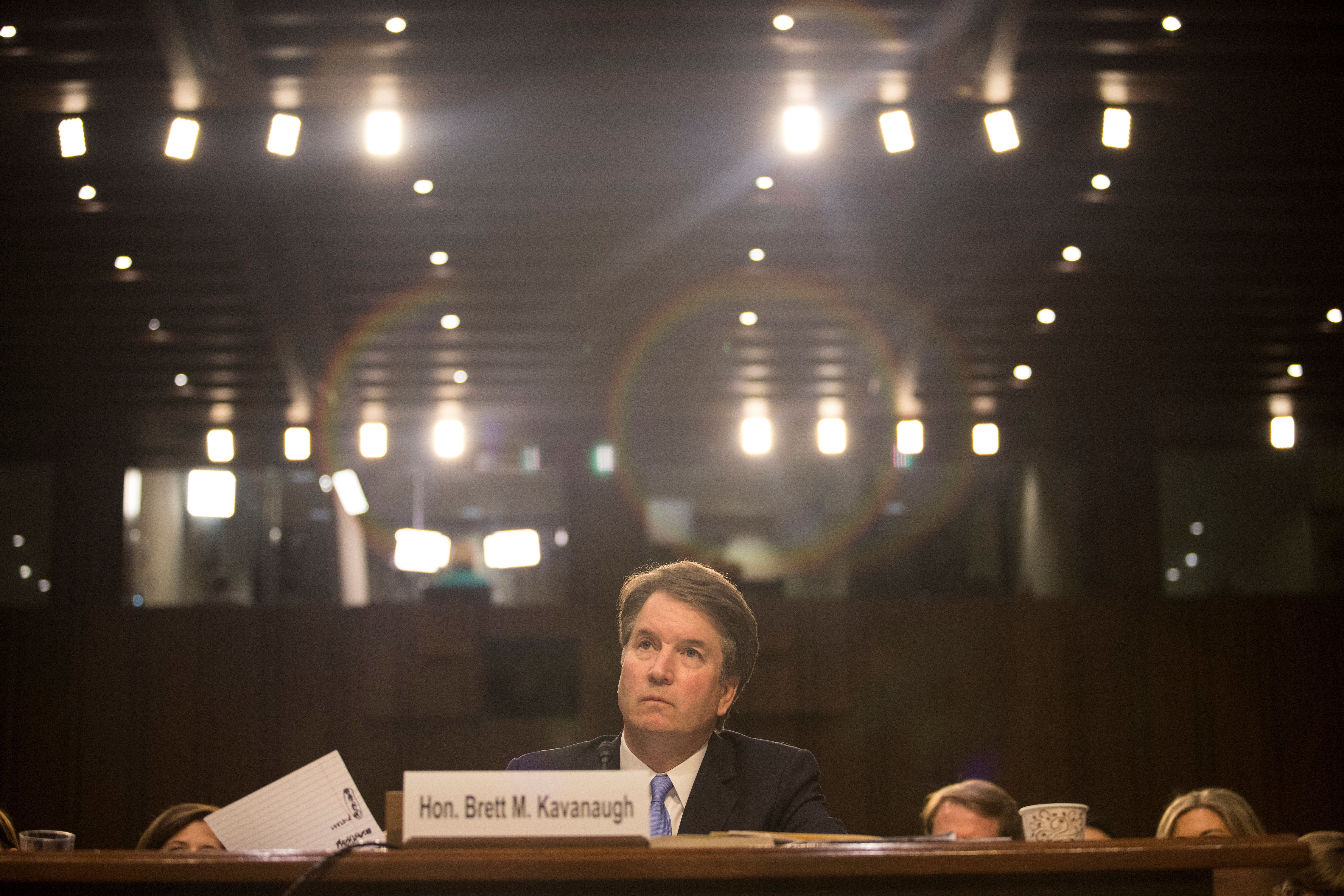 Supreme Court nominee Brett Kavanaugh testifies during the third day of his confirmation hearing before the Senate Judiciary Committee on Capitol Hill in Washington, U.S., September 6, 2018. REUTERS/Alex Wroblewski