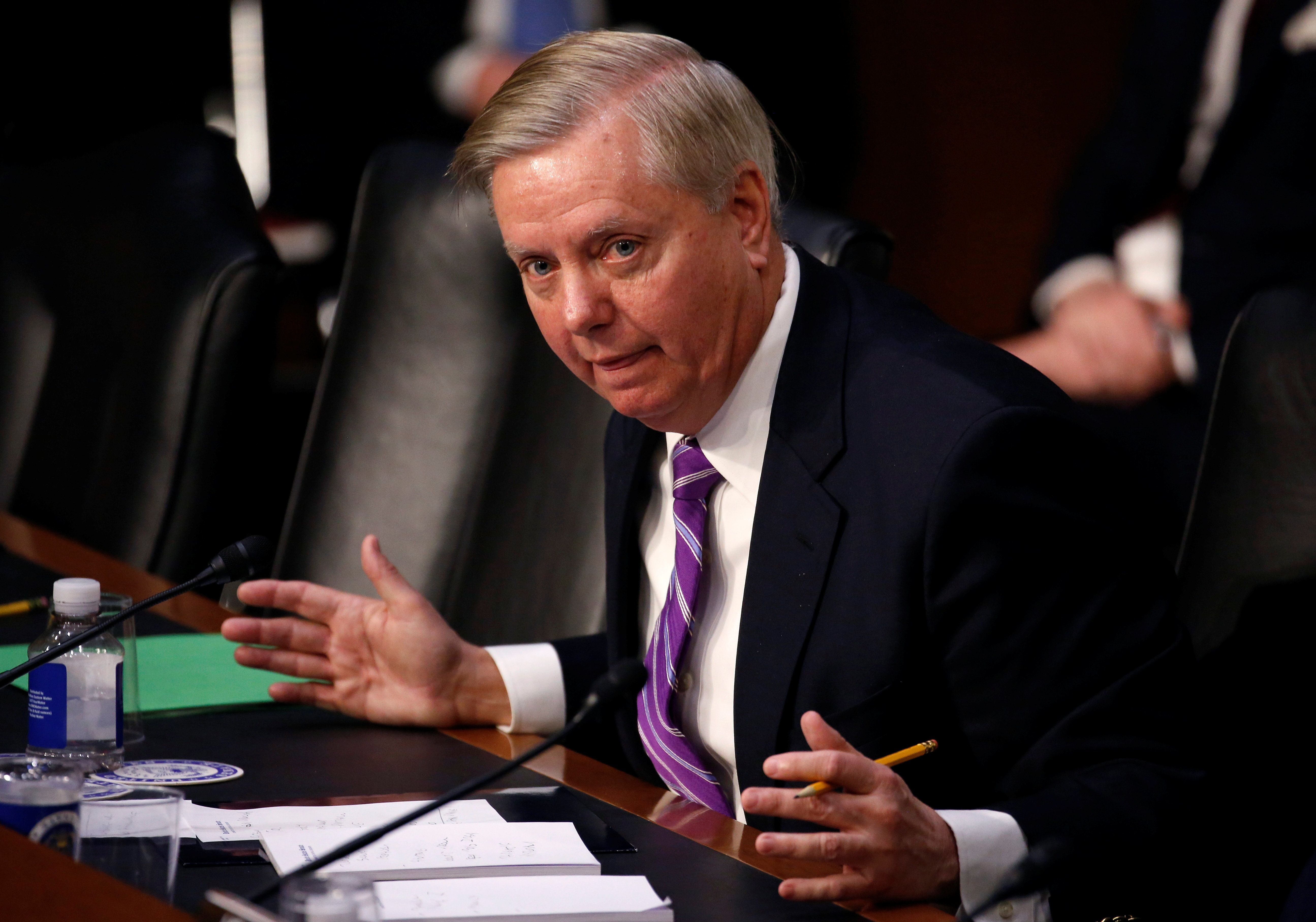 "Senator Lindsey Graham (R-SC) questions U.S. Secretary of Homeland Security Kirstjen Nielsen during a hearing with the Senate Judiciary Committee on ""Oversight of the U.S. Department of Homeland Security"" on Capitol Hill in Washington, U.S., January 16, 2018. REUTERS/Joshua Roberts"