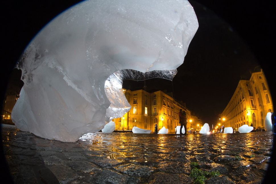"""Ice Watch"", an art installation by Danish-Icelandic artist Olafur Eliasson, on display in Paris in December 2015."