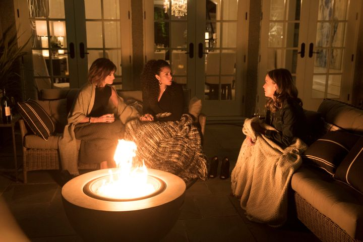 Stephanie Szostak, Christine Moses and Allison Miller play a man's widow and his friends' wife and new love interest who are