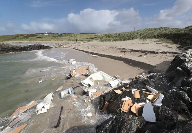The scene in Claddaghduff, in Co Galway after a woman died when her caravan was blown off a cliff in...