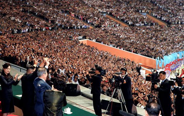 문재인 대통령이 5.1경기장에 운집한 '북한 주민 15만명' 앞에서 한 연설
