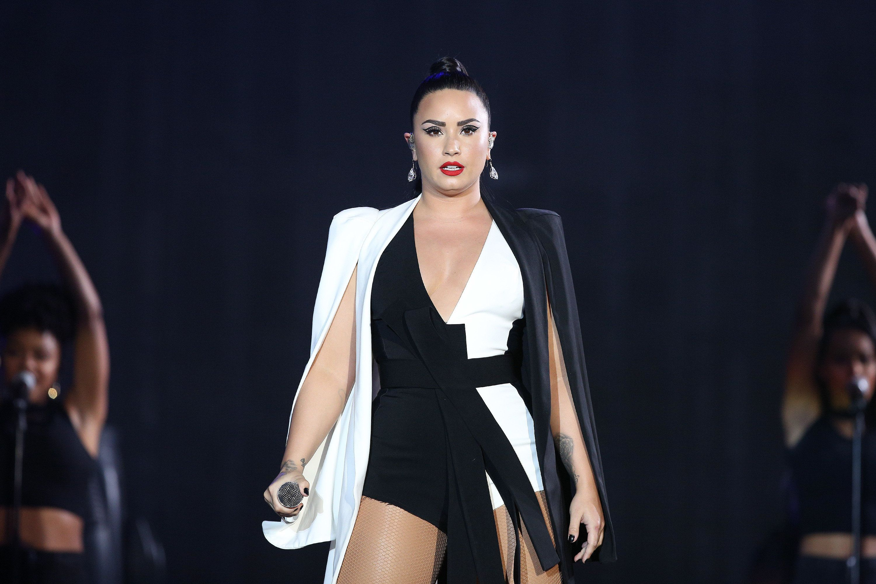 Demi Lovato performs at the Rock in Rio Lisboa a month before she was hospitalized.