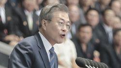 문재인 대통령이 운집한 '북한 주민 15만명' 앞에서 한 연설