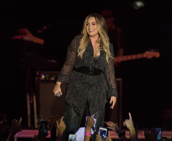 Demi Lovato performs at at her2018 California Mid-State Fair last concert before entering rehab.