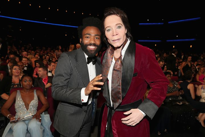 Donald Glover, Teddy Perkins and Issa Rae at the Emmy Awards.