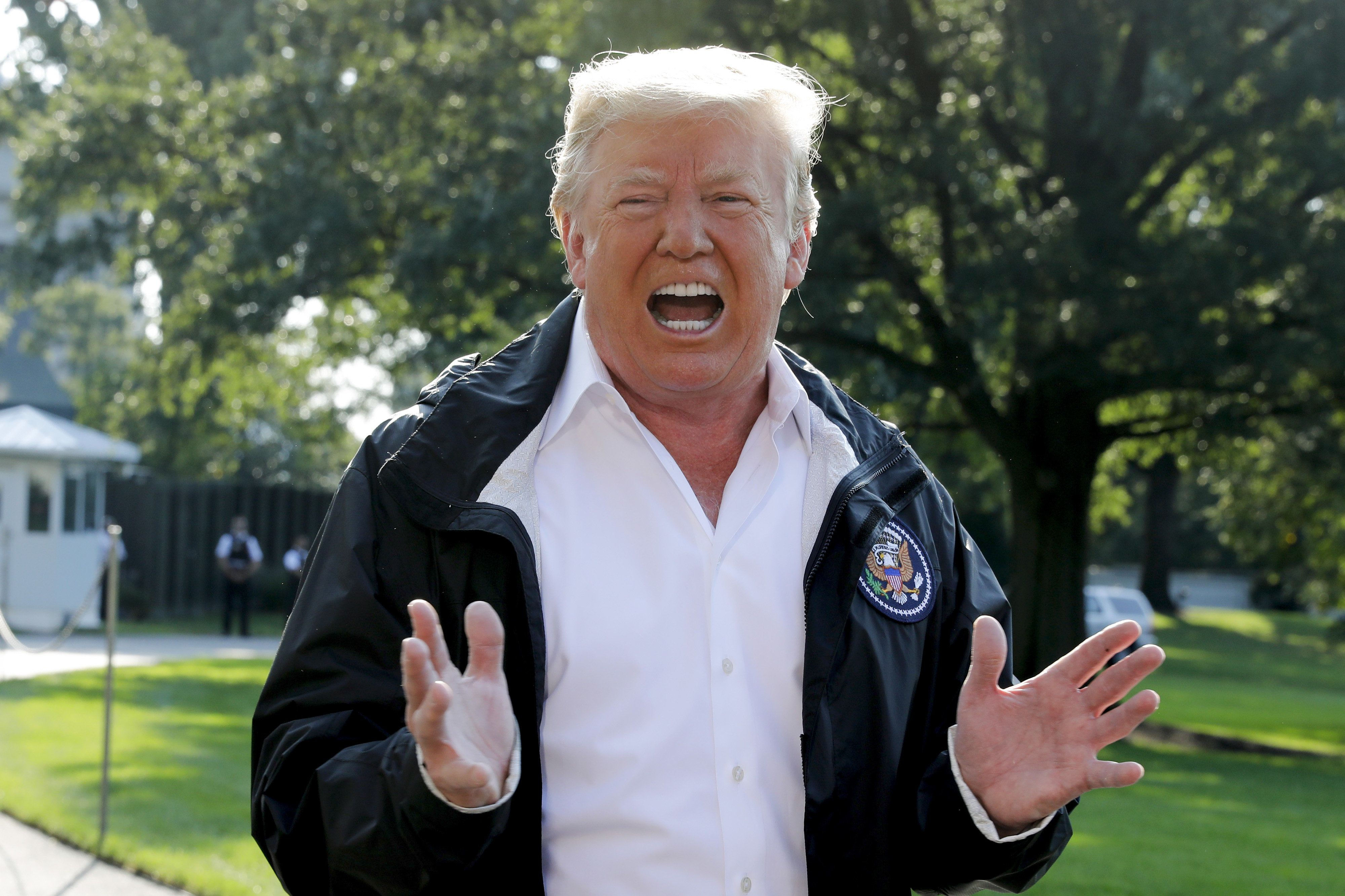 U.S. President Donald Trump speaks to members of the media before boarding Marine One on the South Lawn of the White House in Washington, D.C., U.S., on Wednesday, Sept. 19, 2018. Trump said he wants to hear from the woman who accuses Supreme Court nominee Brett Kavanaugh of sexual assault, saying it would be 'unfortunate' if she doesn't testify before a Senate committee. Photographer: Yuri Gripas/Bloomberg via Getty Images