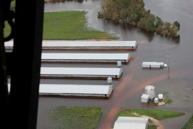 A flooded farm in central North Carolina on Sept.