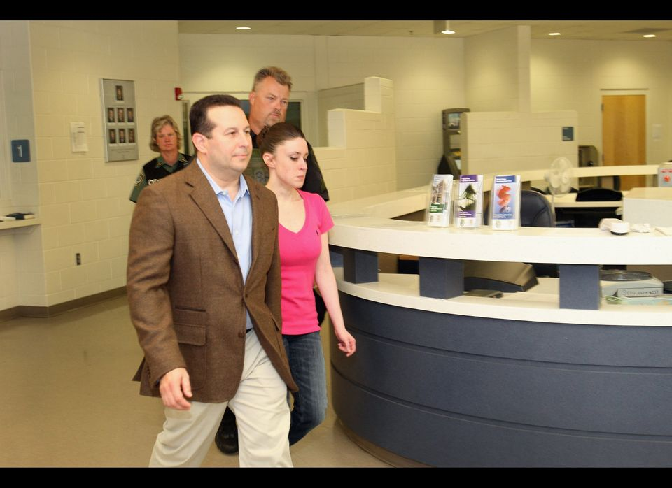Casey Anthony leaves with her attorney Jose Baez from the Booking and Release Center at the Orange County Jail after she was