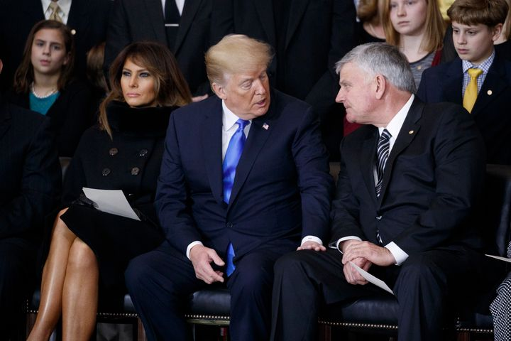 Franklin Graham with Trump at a ceremony honoring the late Billy Graham at the U.S. Capitol on Feb. 28. In an interview with