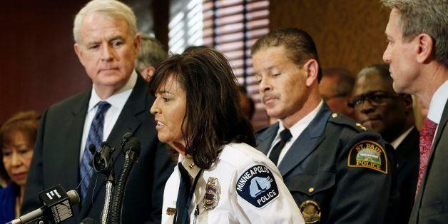 Minneapolis Police Chief Renee Harteau addresses a Regional Gun Summit news conference hosted by Minneapolis Major R.T. Rybak